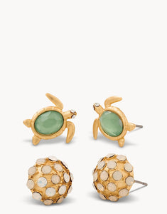 Sea Stud Earrings Turtle Set of 2