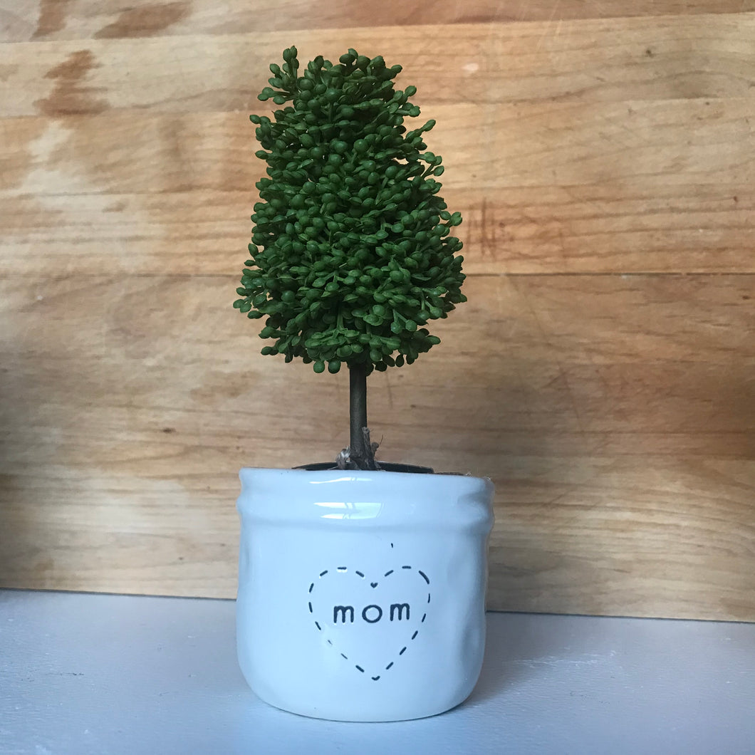Mom Faux Boxwood Topiary