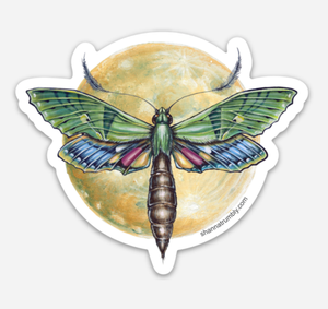 Moth & Moon Sticker by Shanna Trumbly