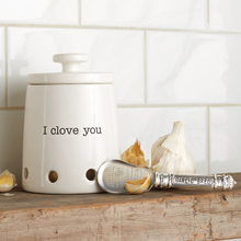 "Load image into Gallery viewer, ""I Clove You"" Ceramic Garlic Keeper"