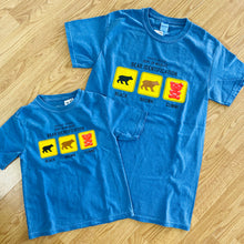 Load image into Gallery viewer, Bear Identification Cotton Tee Shirt, Kids' Sizes, Pacific Blue