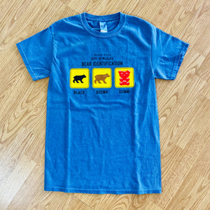 Bear Identification Cotton Tee Shirt, Adult Sizes, Pacific Blue