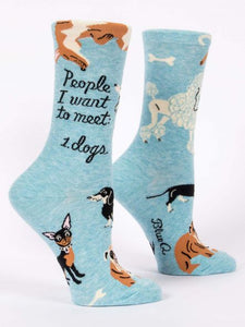 Blue Q People I Want to Meet: Dogs Crew Socks