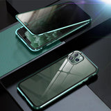 Metal+Tempered Glass Full Cover Case For iPhone