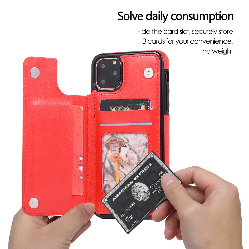 Luxury Leather Flip Wallet Holder Case for iPhone