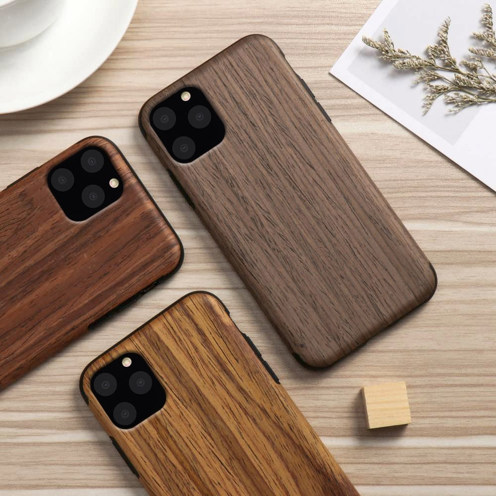 2020 Wood Grain Flexible TPU Silicone Case for iPhone