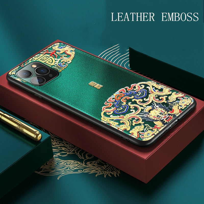Luxury Leather Relief Patterned Case For iPhone