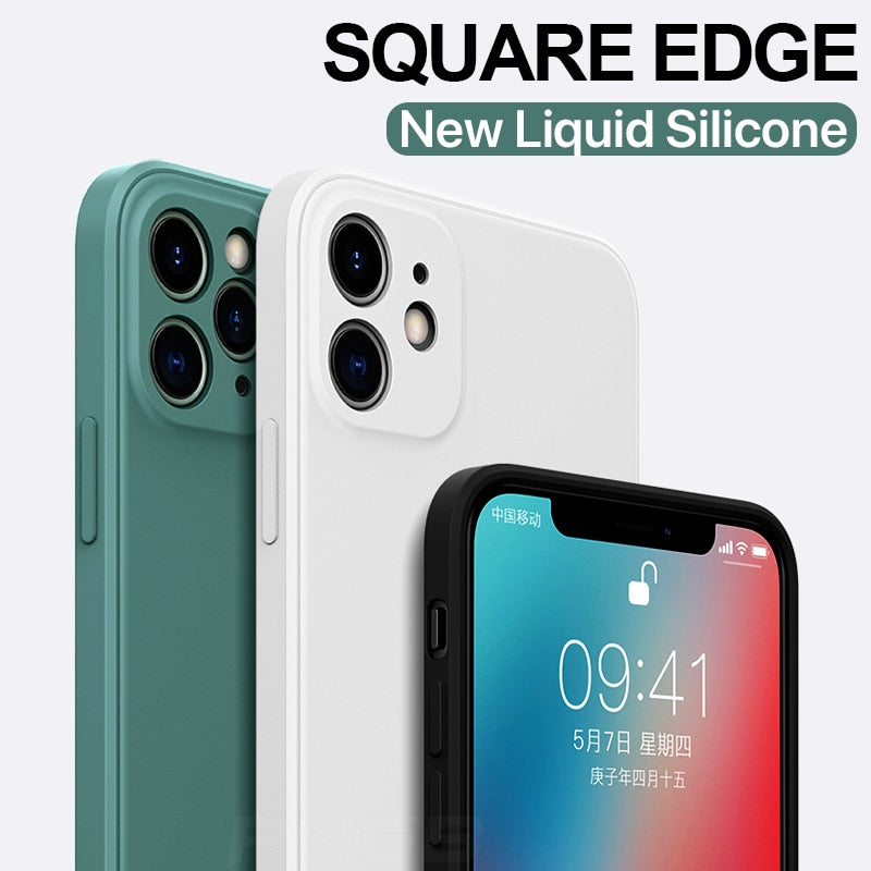 Luxury Square Liquid Silicone Shockproof Case on For iPhone