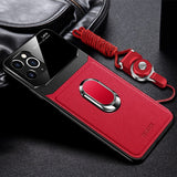 Luxury Leather Mirror Lens Holder Case For iPhone