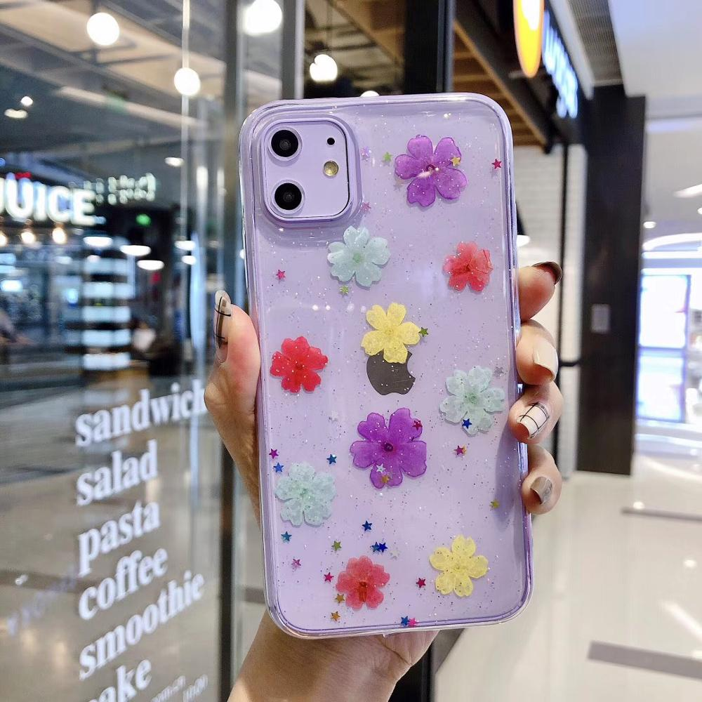 Real Dried Flowers Soft Cover Case For iPhone