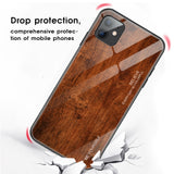 Wood Grain Tempered Glass Phone Case For iPhone