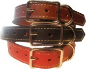 NEW - Leather Stitched Dog Collar by Karen Gunna-0