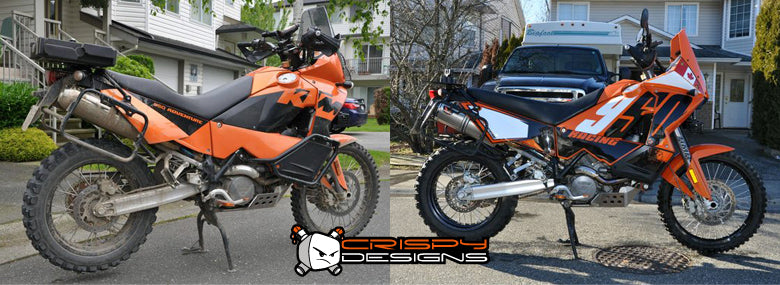 ktm 950 adventure, before and after – crispy designs