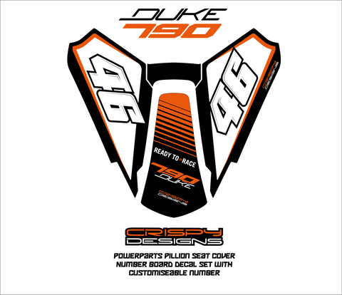 KTM 790 Duke pillion number board decal set - Custom number