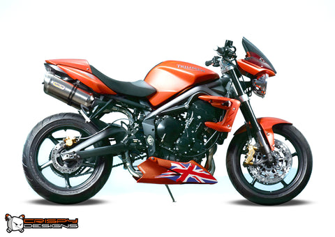 Triumph Street Triple Union Jack belly pan decal set (2008 - 2013 shape)- Colour