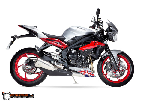 Triumph 675 Street Triple Union Jack belly pan decal set - Colour