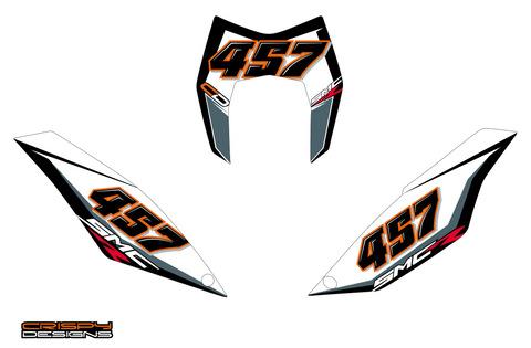 Davidson - Custom KTM 690 SMC R number board and headlight set