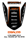 KTM 1290 Superduke R pillion seat cover decals - 5 designs to choose