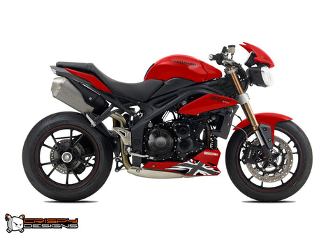 Pre 2015 Triumph Speed Triple Union Jack belly pan decal set - Monochrome
