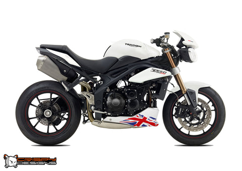 Pre 2015 Triumph Speed Triple Union Jack belly pan decal set - Colour