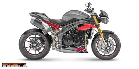 Colour Union Jack belly pan decal set - 2016 Triumph Speed Triple