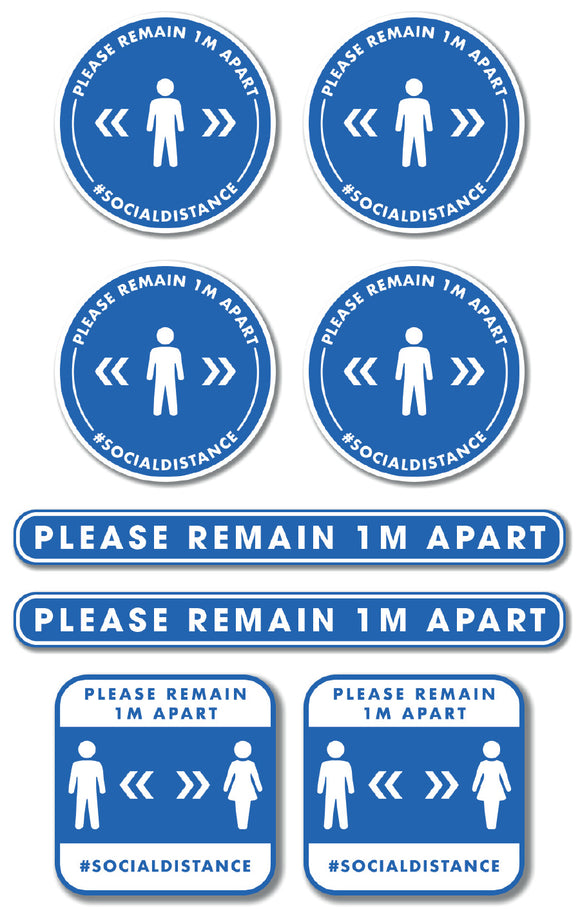 Social Distancing - Graphic Pack - Please Remain 1m Apart - Silver