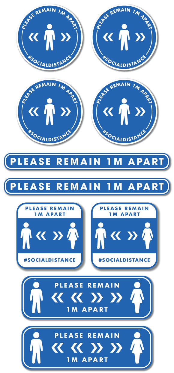 Social Distancing - Graphic Pack - Please Remain 1m Apart - Gold