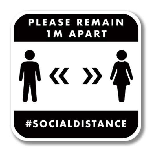 Social Distancing Foamex Graphic - Please Remain 1m Apart 300mm Square Wall Foamex Design 2