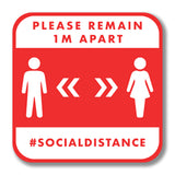 Social Distancing Wall Graphic - Please Remain 1m Apart 300mm Square Wall Vinyl Design 2