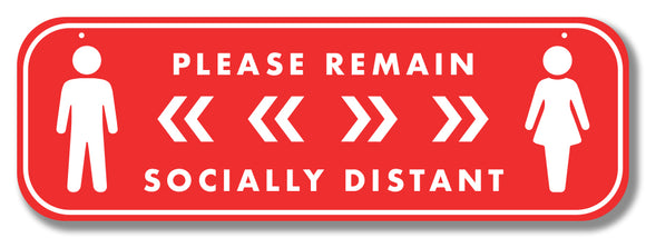 Social Distancing Hanging Graphic - Please Remain Socially Distant 900mm x 300mm Hanging Foamex Design 1