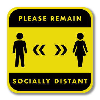 Social Distancing Foamex Wall Graphic Square - Please Remain Socially Distant 300mm Square Wall Foamex Design 2