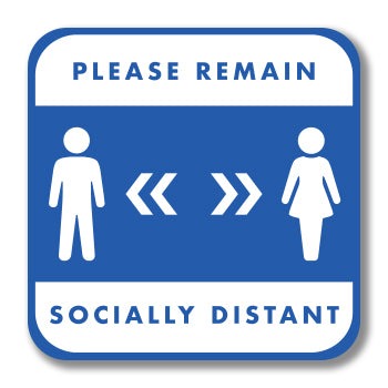 Social Distancing Wall Graphic Square - Please Remain Socially Distant 300mm Square Wall Vinyl