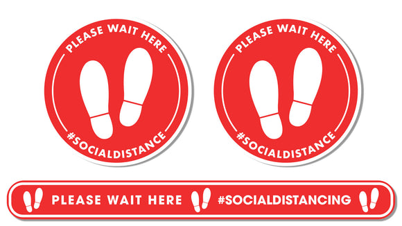 Social Distancing - Queue Management Graphic Pack - Please Wait Here - Bronze