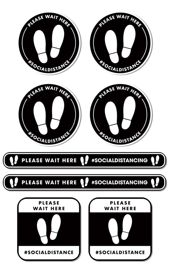 Social Distancing - Queue Management Graphic Pack - Please Wait Here - Silver
