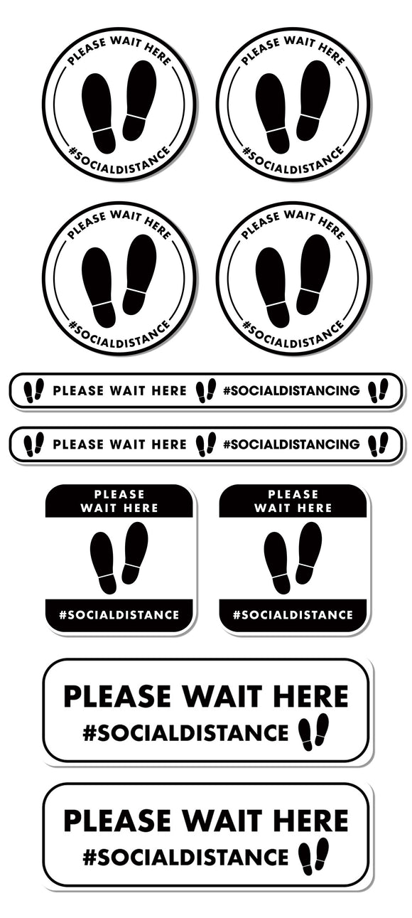 Social Distancing - Queue Management Graphic Pack - Please Wait Here - Gold