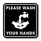 Hygiene Stickers - Window & Mirror Graphic Sqaure - Please Wash Your Hands 200mm Square Mirror Window Cling 1