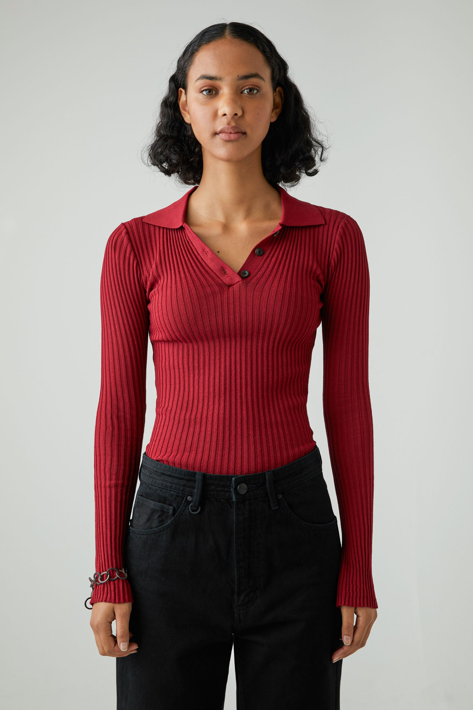 Jaye Rib Knit - Deep Red