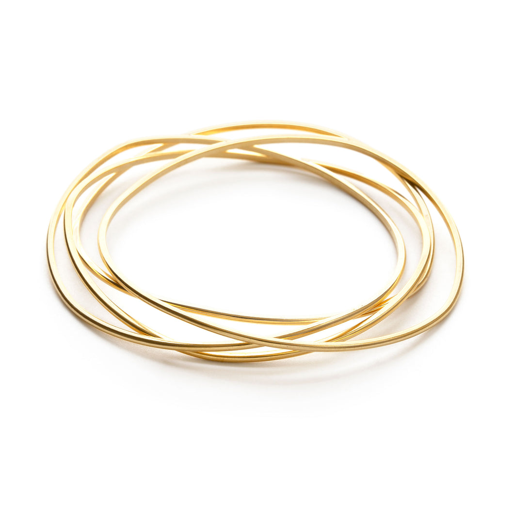 Matte Gold Wave Bangle Set