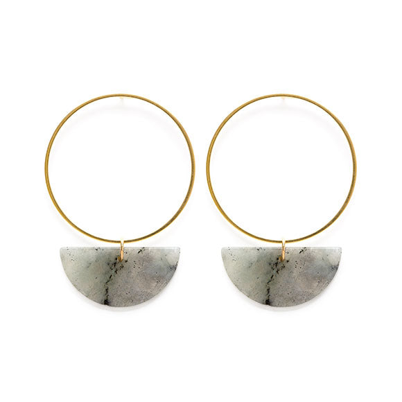 Sun and Moon Stud Earrings in Labradorite