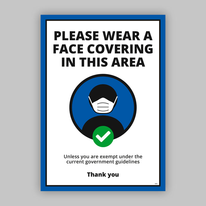 A3 Please Wear a Face Covering Window Cling - Blue