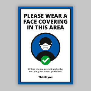 A4 Please Wear a Face Covering - Self Adhesive Poster - Blue