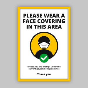 A4 Please Wear a Face Covering - Self Adhesive Poster - Yellow