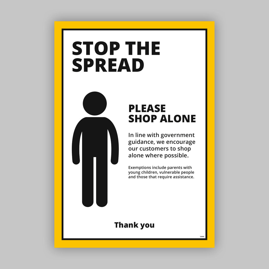 A2 Social Distancing Posters - Shop Alone