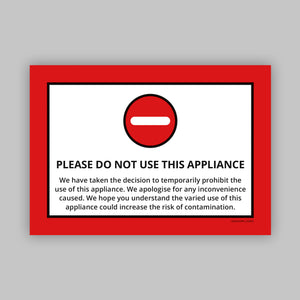 Do Not Use This Appliance - Vinyl Self-Adhesive Label - Red