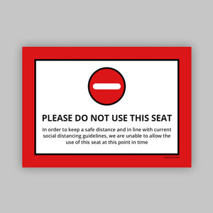 Do Not Use This Seat - Vinyl Self-Adhesive Label - Red
