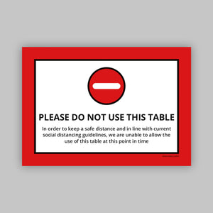Do Not Use This Table - Vinyl Self-Adhesive Label - Red