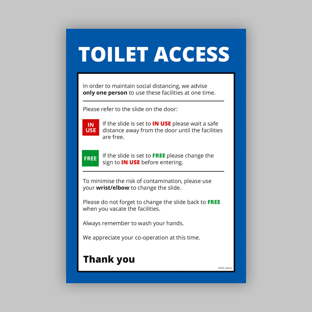 A4 Toilet Access Posters - Self Adhesive Vinyl (Business)