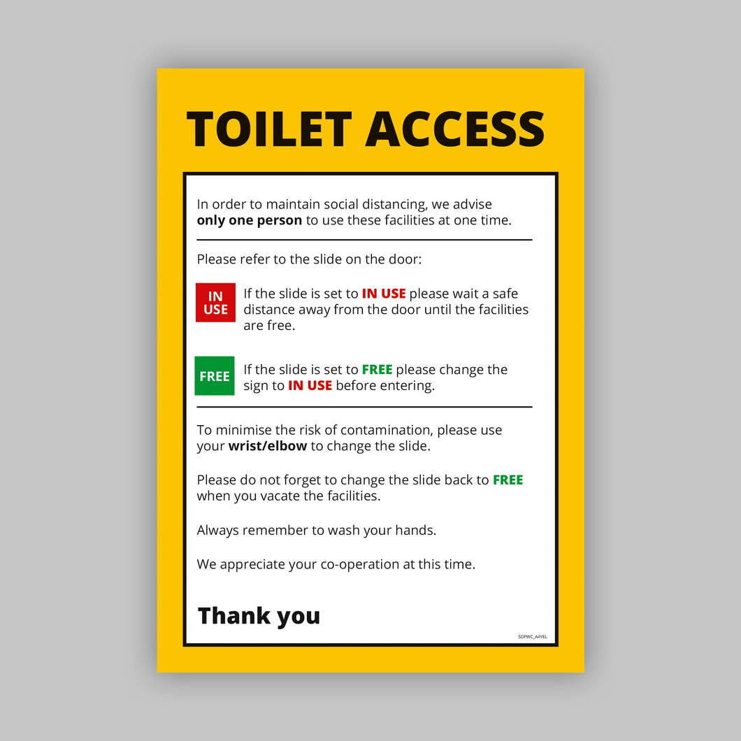 A4 Toilet Access Posters - Self Adhesive Vinyl (Retail)