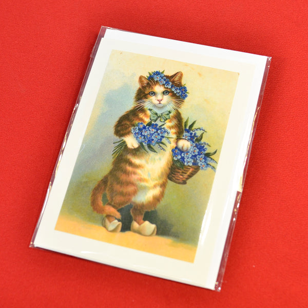 Blank Card Flower Cat
