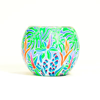 Glowing Glass Candle Holder Tropical Greens
